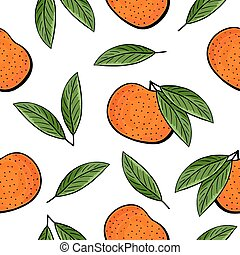 Seamless hand drawn tangerine pattern on white background....