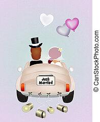 funny Wedding car