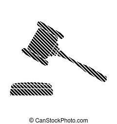 Judge gavel sign - Judge gavel sign on white background...