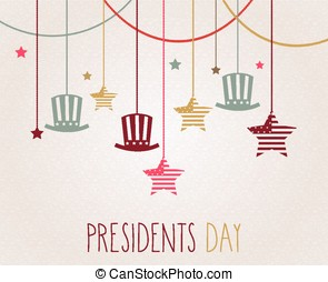Presidents day poster Hanging colorful hats and stars Vector...