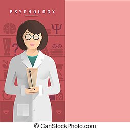 Illustration of women psychologist in glasses