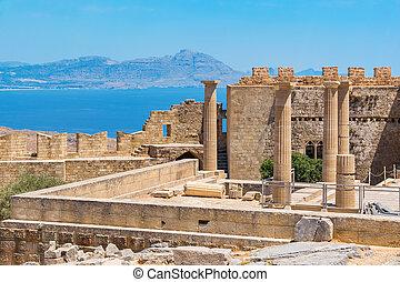 Acropolis in Lindos. Rhodes, Greece