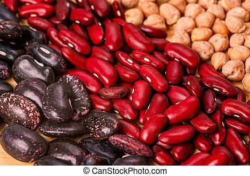 colored puse chickpea red black