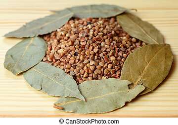 Bay leaf buckwheat food table
