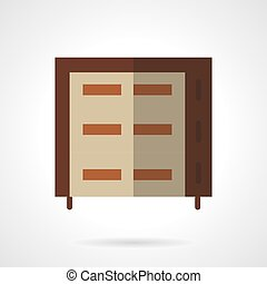 Multilevel brown oven flat vector icon - Brown bakery oven...
