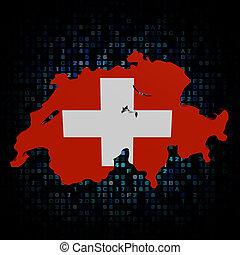 Switzerland map flag on hex code illustration