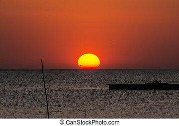 sunset above the sea in Bangpu ,Samutprakarn in Thailand