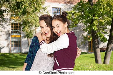 ティーンエージャーの, 上に, 女の子, 抱き合う, 学生, キャンパス, 幸せ