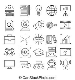 Vector business webinar and online education outline icons...