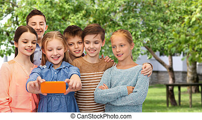 happy children talking selfie by smartphone - childhood,...