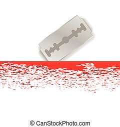 Metal Razor Blade - Realistic Razor Blade Icon on White...