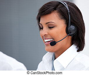 Cute customer agent customer agent - Portrait of an ethnic...