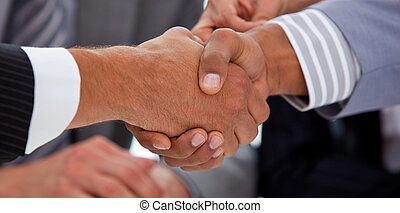 Business people shaking hands - Close-up of a business...