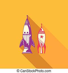 Flat vector icon of rocket