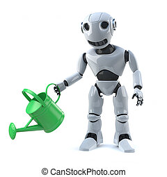 3d Robot watering his plants with a watering can - 3d render...