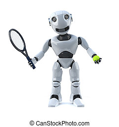 3d Robot plays tennis - 3d render of a robot holding a...