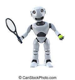 3d Robot plays tennis - 3d render of a robot holding a...