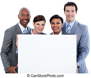 Smiling co-workers with paper against a white background