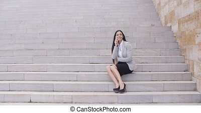 Happy woman talking on phone - Happy beautiful female...