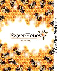 Honey Background with Working Bees