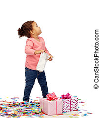 happy little baby girl with birthday peresents - childhood,...