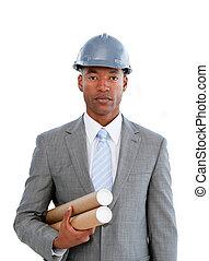Portrait of a confident male architect against a white...