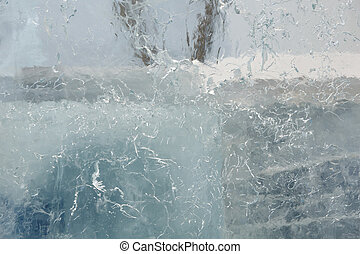 Glacial transparent block of ice with patterns - Glacial...