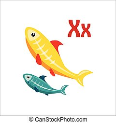 X-Ray Tetra Funny Alphabet, Animal Vector Illustration -...