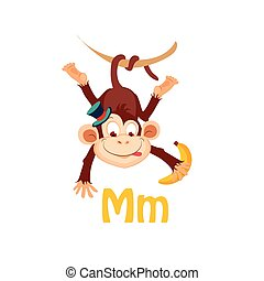 Monkey Funny Alphabet, Animal Vector Illustration - Monkey...