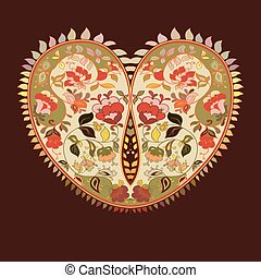 Boho heart Tribal style card - Valentines day tribal...