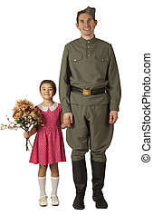 Little girl and Soviet soldier