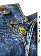 Unzipped and unbuttoned blue jeans - Close-up of open,...