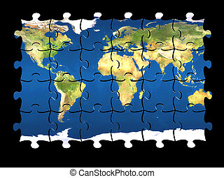 puzzle World isolated - 3d coloured puzzle with world map on...