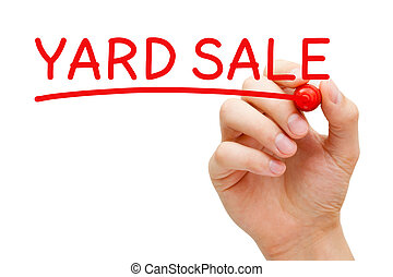 Yard Sale Hand Red Marker - Hand writing Yard Sale with red...
