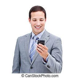 Portrait of a confident businessman looking at his phone