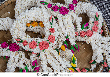 Flower garlands in thai style