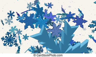 Falling snowflakes in blue on white