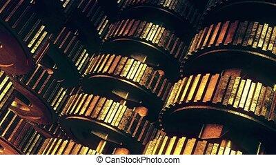 Rotating metal gears in vintage gold
