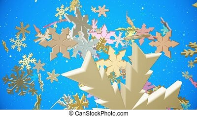 Falling snowflakes in various colors on blue