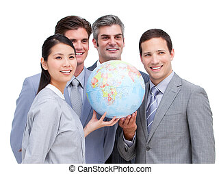 Happy business team looking at the