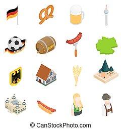 Germany isometric 3d icons set isolated on white background
