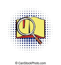 Open book with loupe comics icon. Book with red bookmark...
