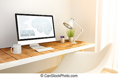 minimalist workplace with emotional marketing computer - 3d...