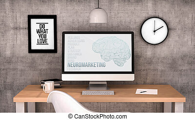 workspace computer neuromarketing - digital generated...