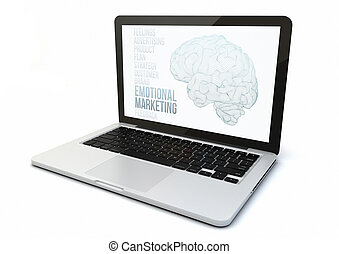 laptop emotional marketing - render of a 3d generated...