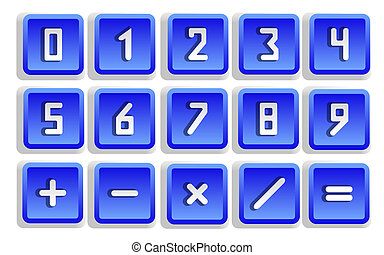 Blue Numeric Button Set - Blue numeric button set isolated -...