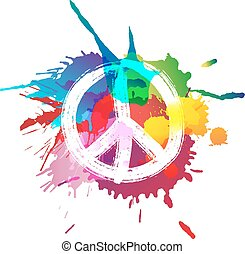 Peace sign in front of colorful splashes