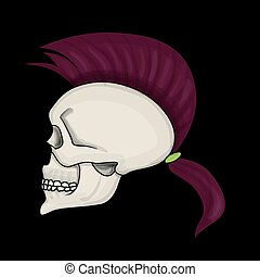 Skull with mohawk hair style isolated