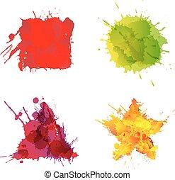 Basic geometric shapes made of colorful splashes