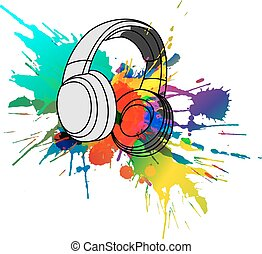 Headphones with colorful splashes